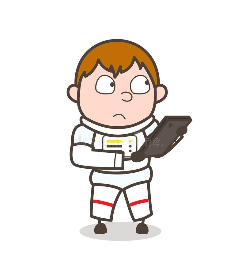 Astronauta Chatting dos desenhos animados na ilustração móvel do vetor ilustração stock