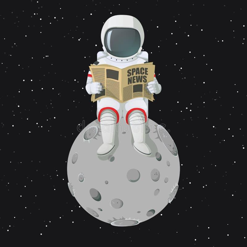 Astronauta che si siede sul giornale della lettura della luna royalty illustrazione gratis