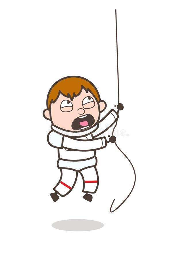 Astronauta Climbing Rope dos desenhos animados na ilustração do vetor do treinamento ilustração stock