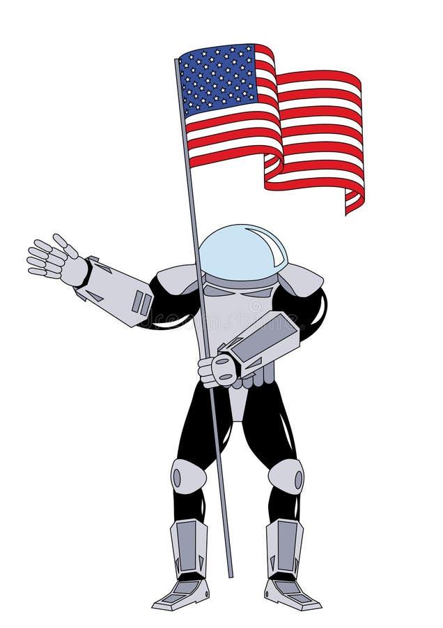 Astronauta com uma bandeira ilustração do vetor