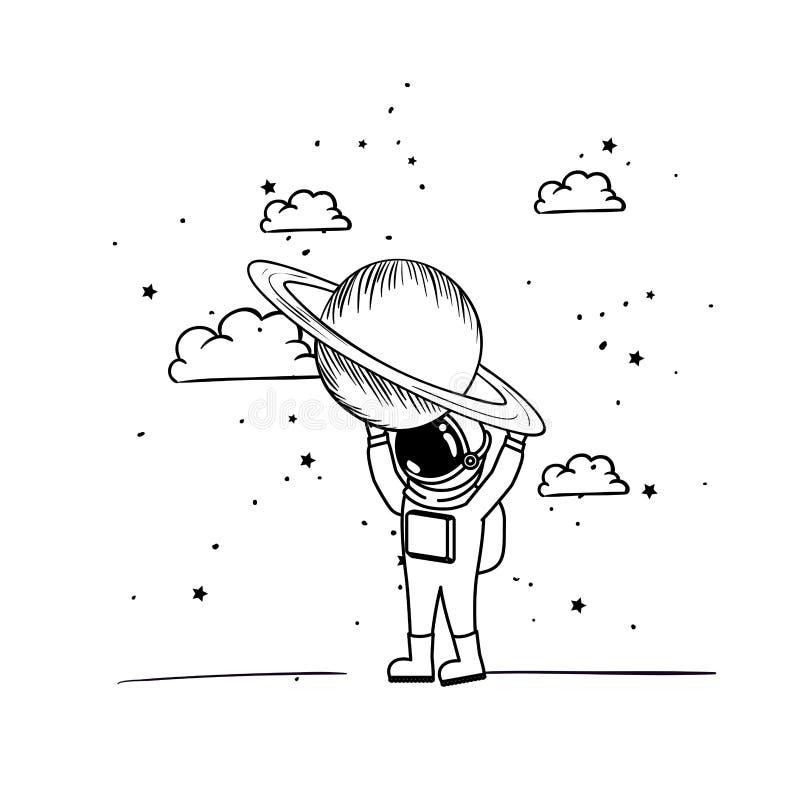 Astronauta con el spacesuit y los planetas en el fondo blanco libre illustration