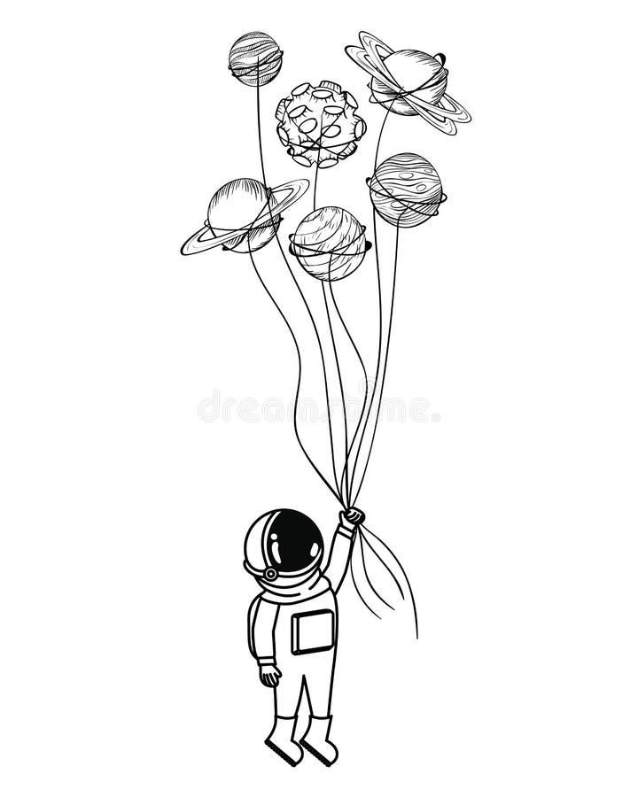 Astronauta con el spacesuit y los planetas en el fondo blanco ilustración del vector