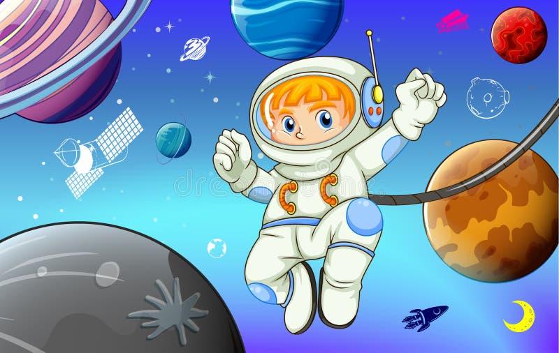 Astronauta con i pianeti nello spazio illustrazione vettoriale