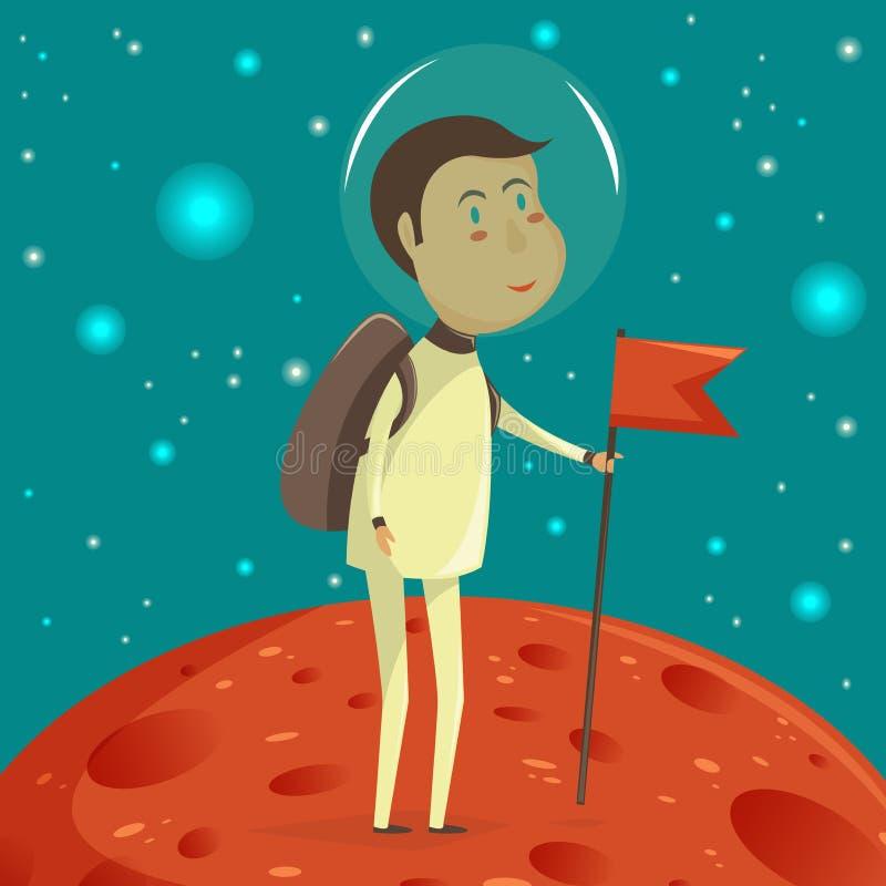 Astronauta con la bandera Concepto del espacio stock de ilustración