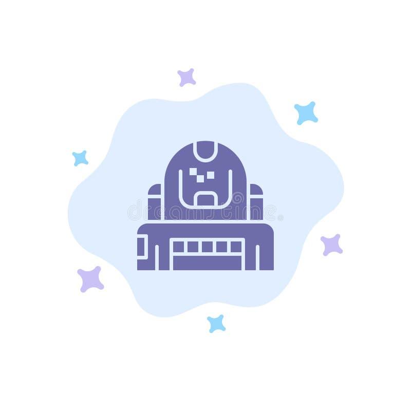 Astronauta, cosmonauta, explorador, capacete, ícone azul da proteção no fundo abstrato da nuvem ilustração royalty free