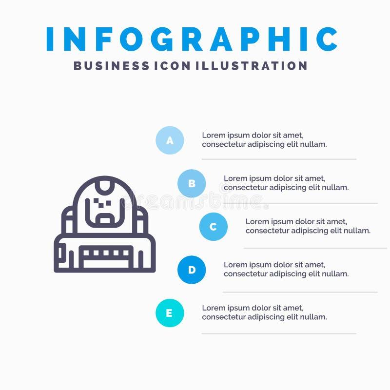Astronauta, cosmonauta, explorador, capacete, linha ícone da proteção com fundo do infographics da apresentação de 5 etapas ilustração stock