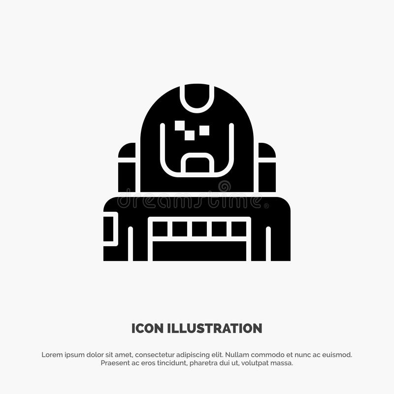 Astronauta, cosmonauta, explorador, capacete, vetor contínuo do ícone do Glyph da proteção ilustração royalty free