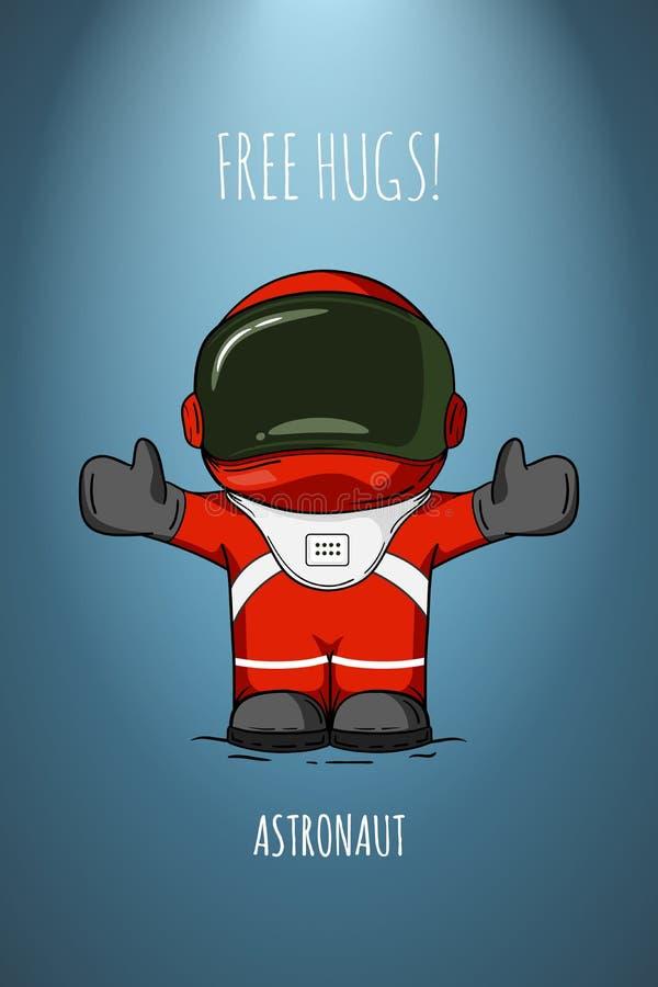 Astronauta da ilustração do vetor Conceito de projeto Livre hugs cumprimento embrace Caráter na moda bonito ilustração royalty free
