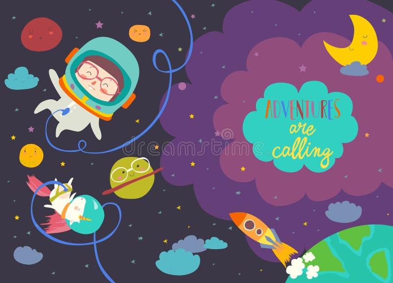Astronauta da menina com seu unicórnio ilustração royalty free