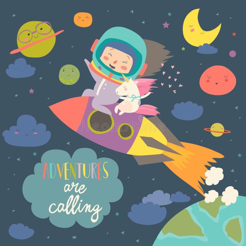 Astronauta da menina com seu unicórnio que monta um foguete ilustração stock