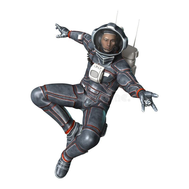 astronauta da rendição 3D no branco ilustração do vetor