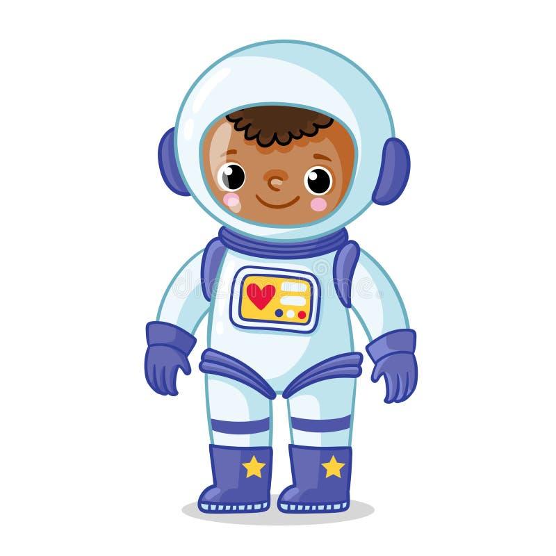 Astronauta dalla carnagione scura in una tuta spaziale su un fondo bianco royalty illustrazione gratis
