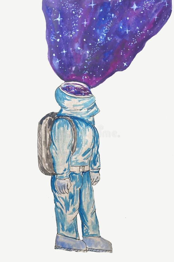 Astronauta de la historieta con el espacio en un fondo blanco fotos de archivo
