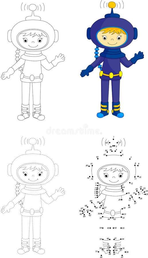 Astronauta De La Historieta Punto Para Puntear El Juego Para Los ...