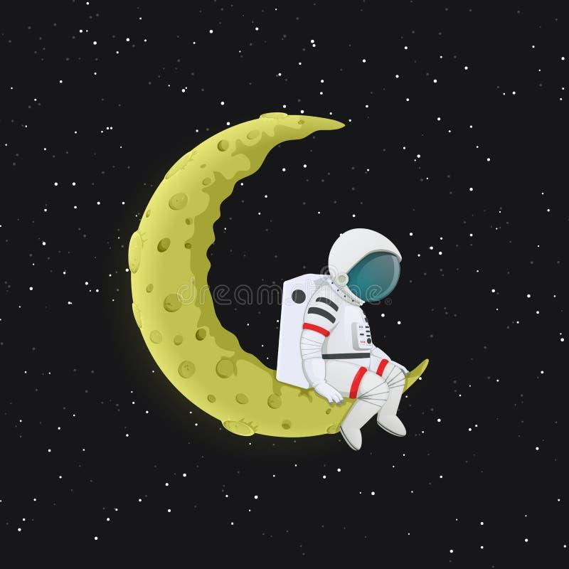 Astronauta de la historieta que se sienta con las piernas que cuelgan en la luna creciente amarilla Espacio exterior con las estr libre illustration