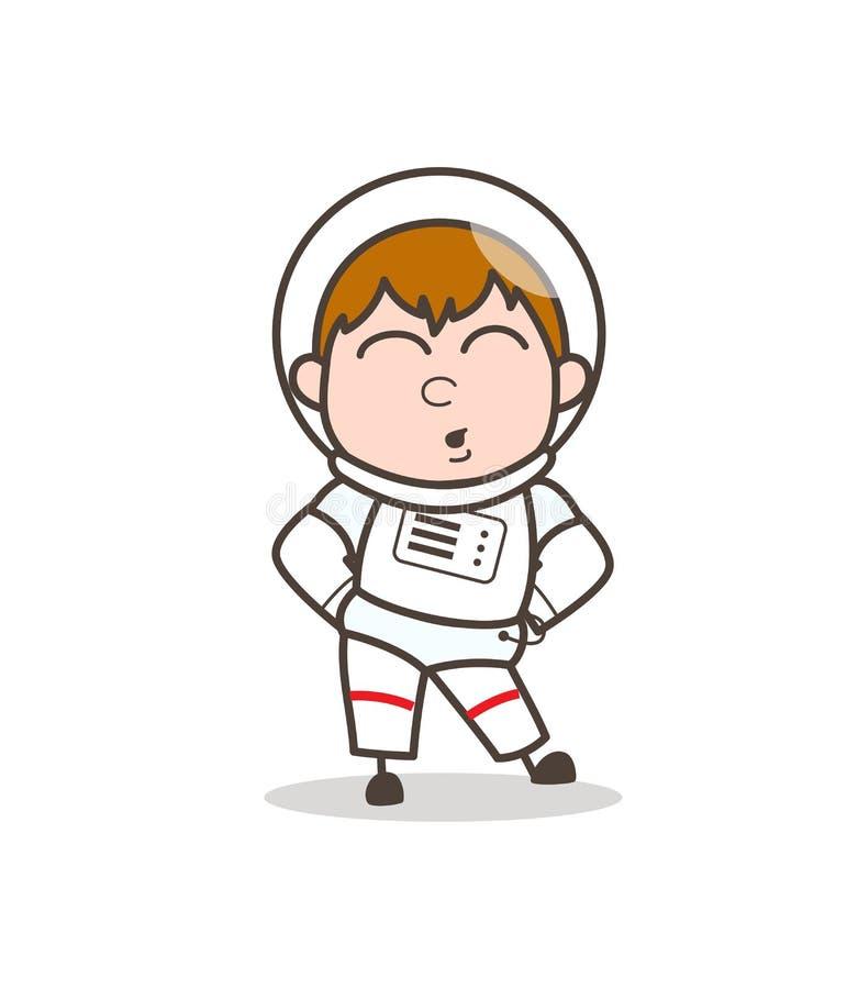 Astronauta de la historieta que tiene dolor en el ejemplo del vector de la cintura libre illustration