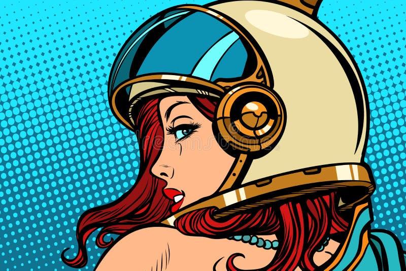 Astronauta de la mujer que mira sobre su hombro ilustración del vector