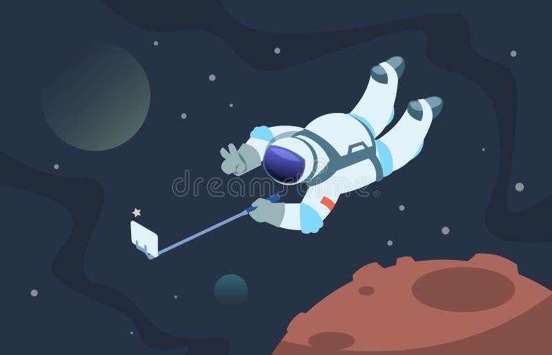 Astronauta de Selfie Cosmonauta de Fanny que toma las fotos en espacio en smartphone Cartel lindo del astronauta de la historieta ilustración del vector