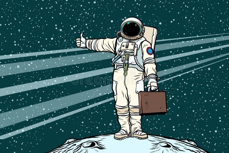 Astronauta del autostopista con la maleta del viaje ilustración del vector