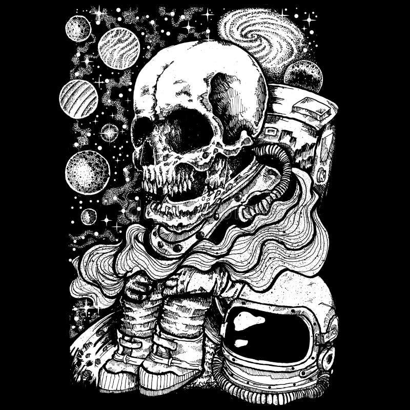 Astronauta del cráneo perdido en espacio ilustración del vector