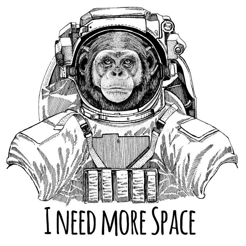 Astronauta del mono del chimpancé Traje de espacio Dé la imagen exhausta del león para el tatuaje, camiseta, emblema, insignia, r stock de ilustración