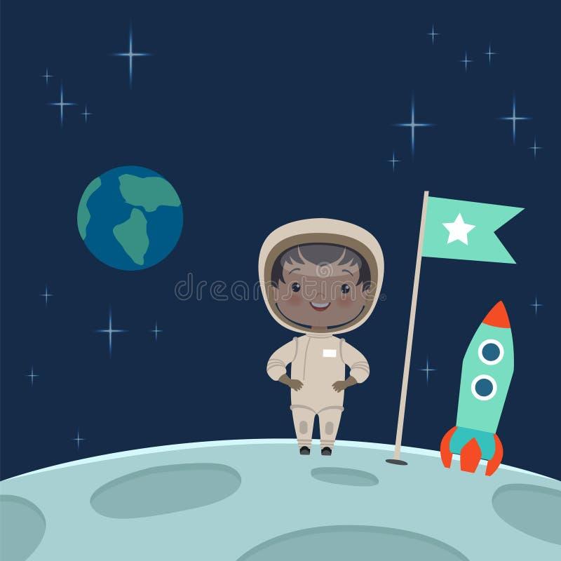 Astronauta del niño que se coloca en la luna Ilustración del fondo del espacio stock de ilustración