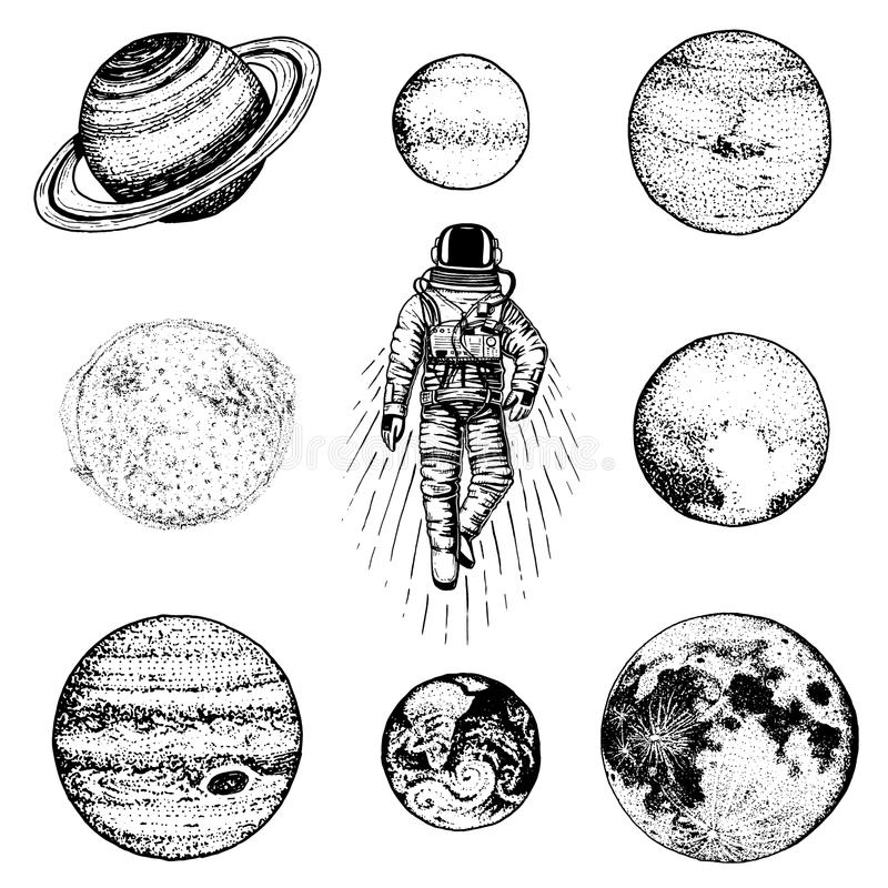 astronauta del astronauta Planetas en Sistema Solar espacio astronómico de la galaxia el cosmonauta explora aventura Mano grabada libre illustration