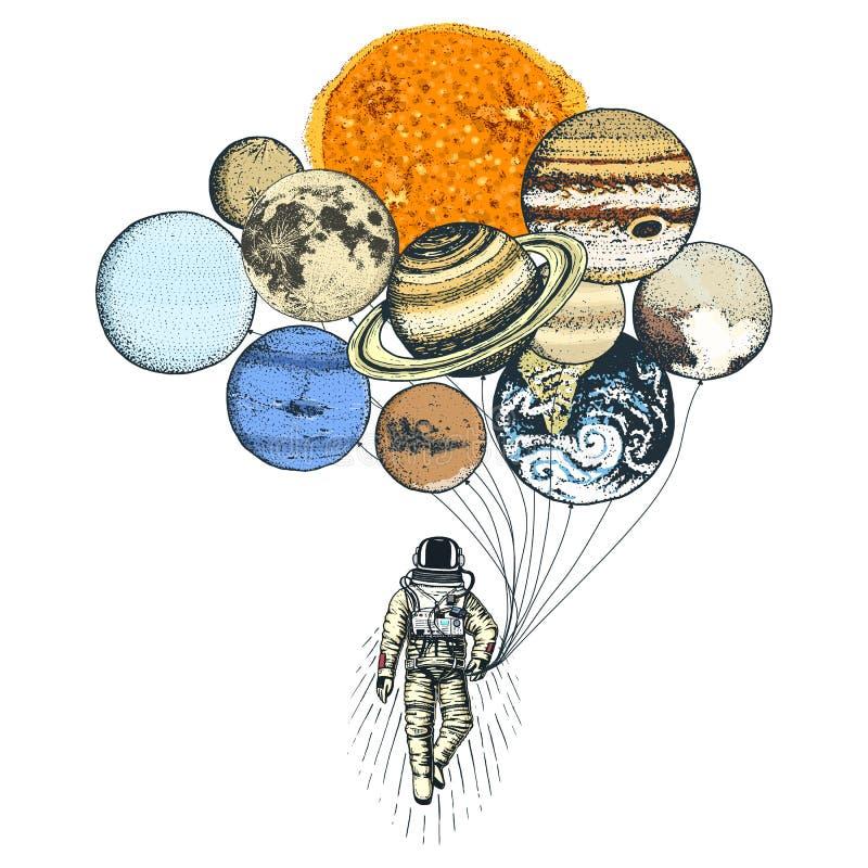 astronauta del astronauta Planetas en Sistema Solar espacio astronómico de la galaxia el cosmonauta explora aventura Mano grabada ilustración del vector