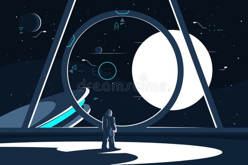 Astronauta del Spacesuit en la nave espacial que mira la luna libre illustration
