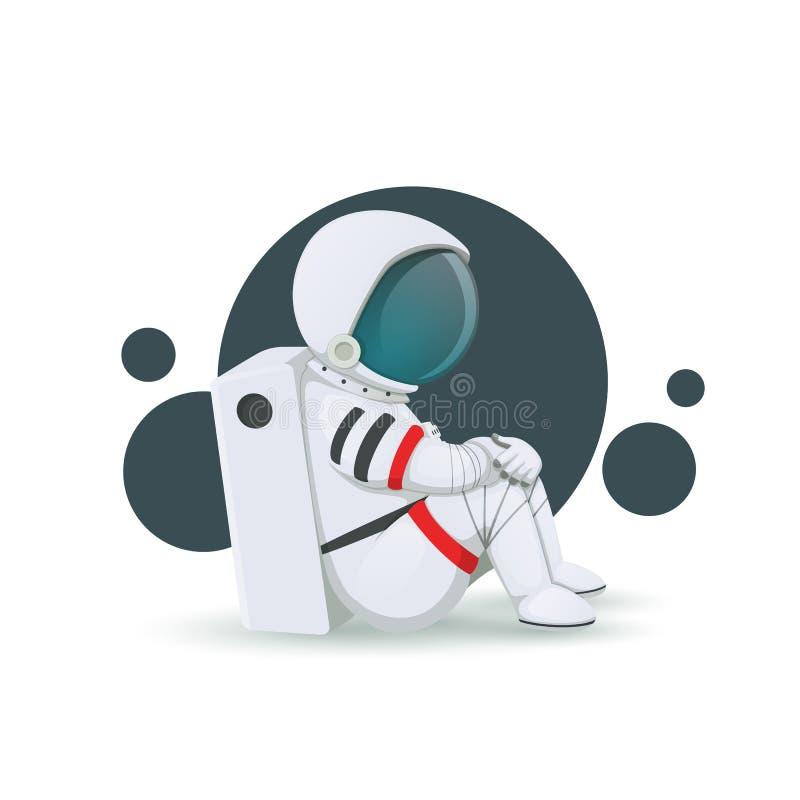 Astronauta deprimente del fumetto che si siede sul pavimento isolato su un fondo bianco Vettore Problema sanitario di salute ment illustrazione vettoriale