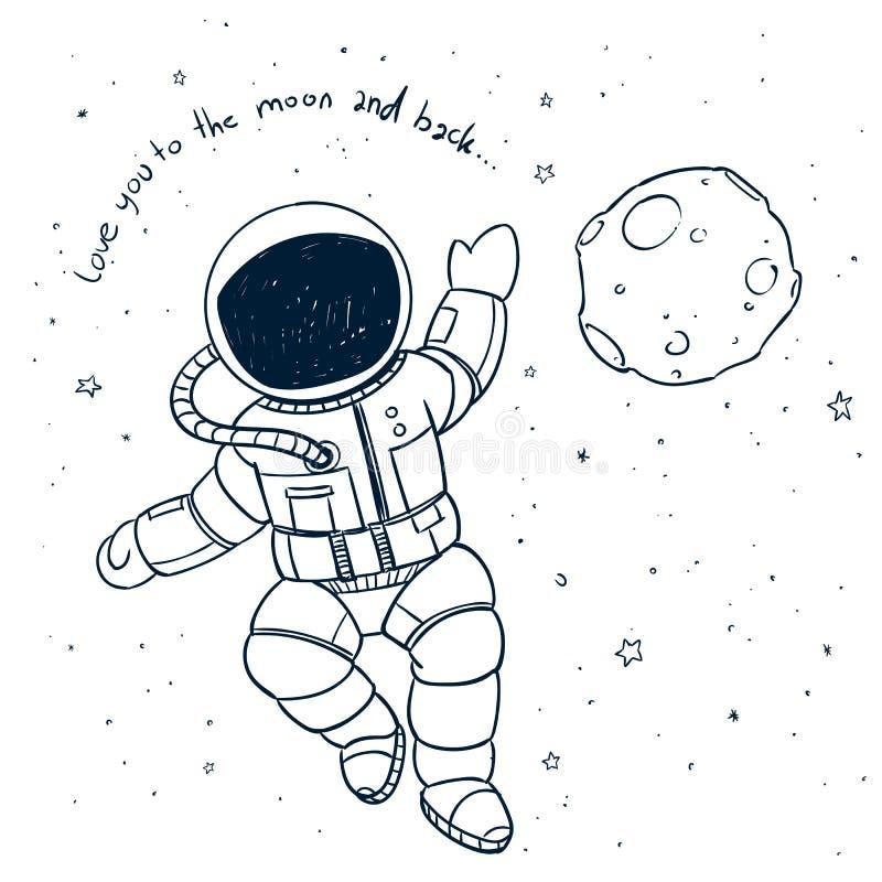 Astronauta disegnato a mano Doodle illustrazione vettoriale