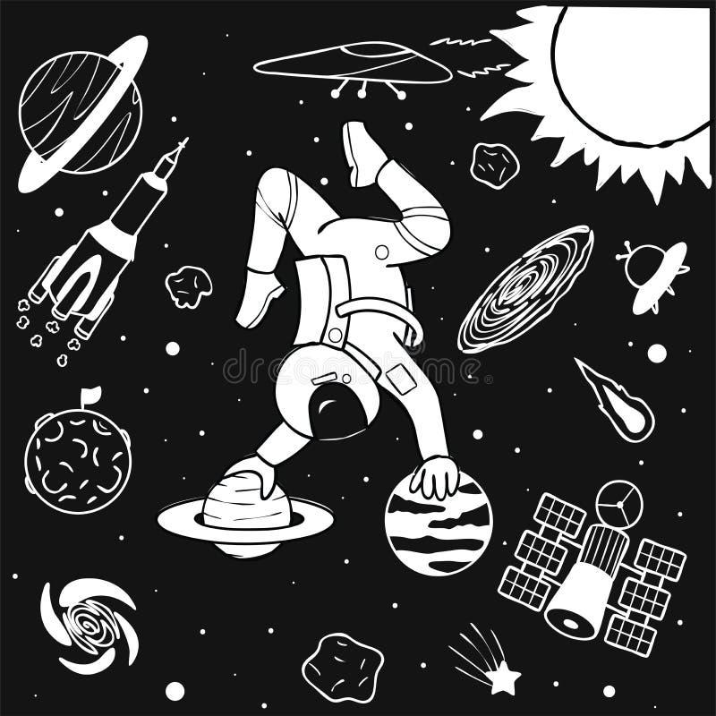 Astronauta divertente che fa yoga sui pianeti nella progettazione di spazio per la pagina della stampa, dell'illustrazione e del  royalty illustrazione gratis