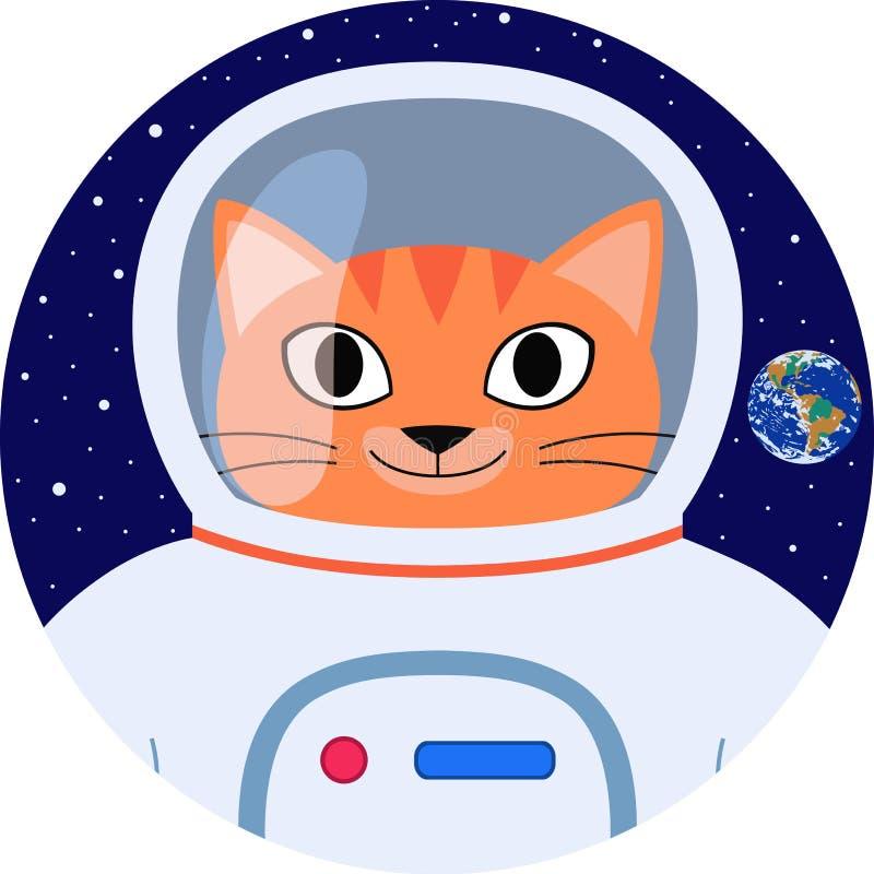 Astronauta divertido de la historieta del gato anaranjado del icono en traje de espacio ilustración del vector