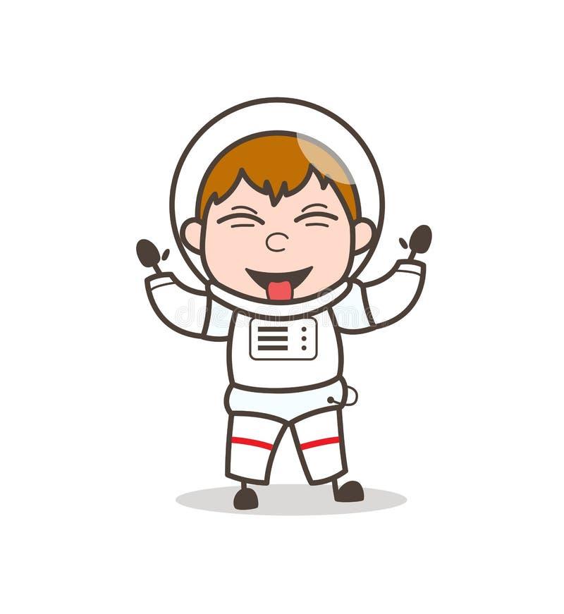 Astronauta divertido Laughing de la historieta y ejemplo de tomadura de pelo del vector de la lengua stock de ilustración
