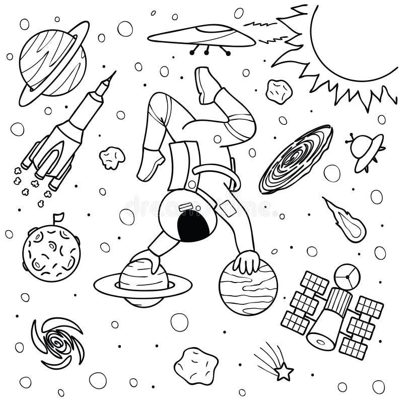 Astronauta divertido que hace yoga en los planetas libre illustration