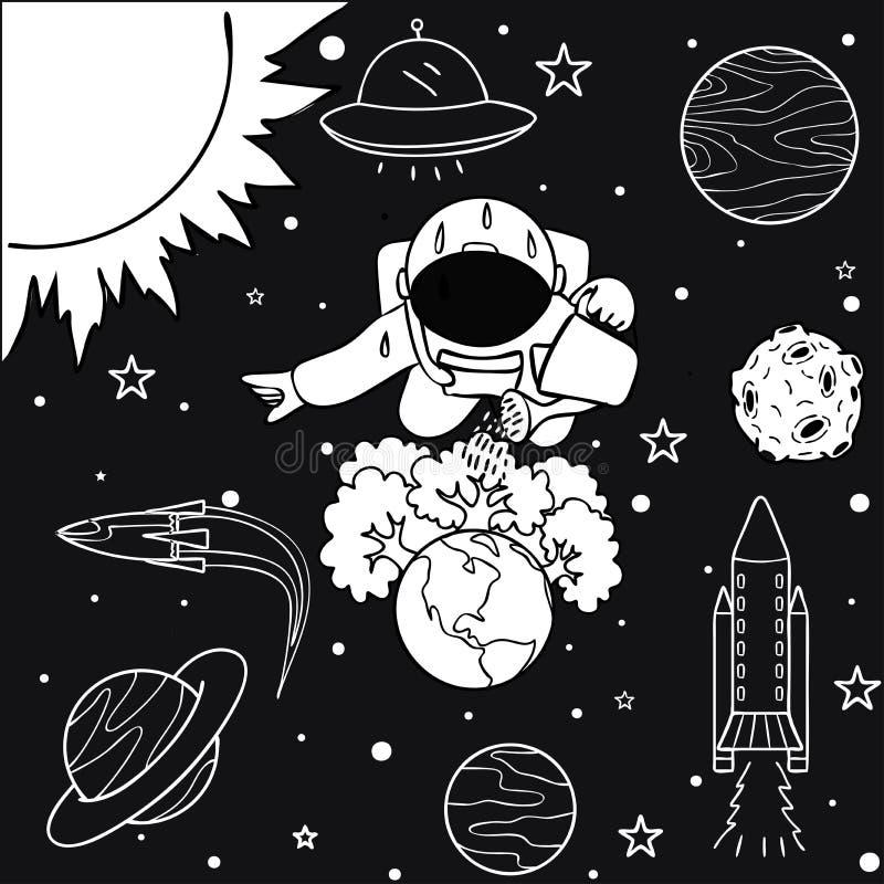 Astronauta divertido que riega los árboles que él ha crecido en la tierra para ahorrar el mundo, para el elemento del diseño y la stock de ilustración