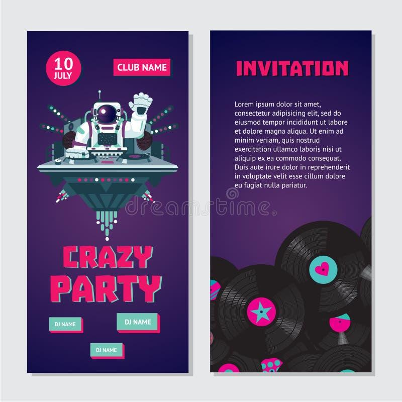 Astronauta DJ del espacio Invitación bilateral del baile para el club nocturno con el disco de vinilo Fest de la música de la cas ilustración del vector