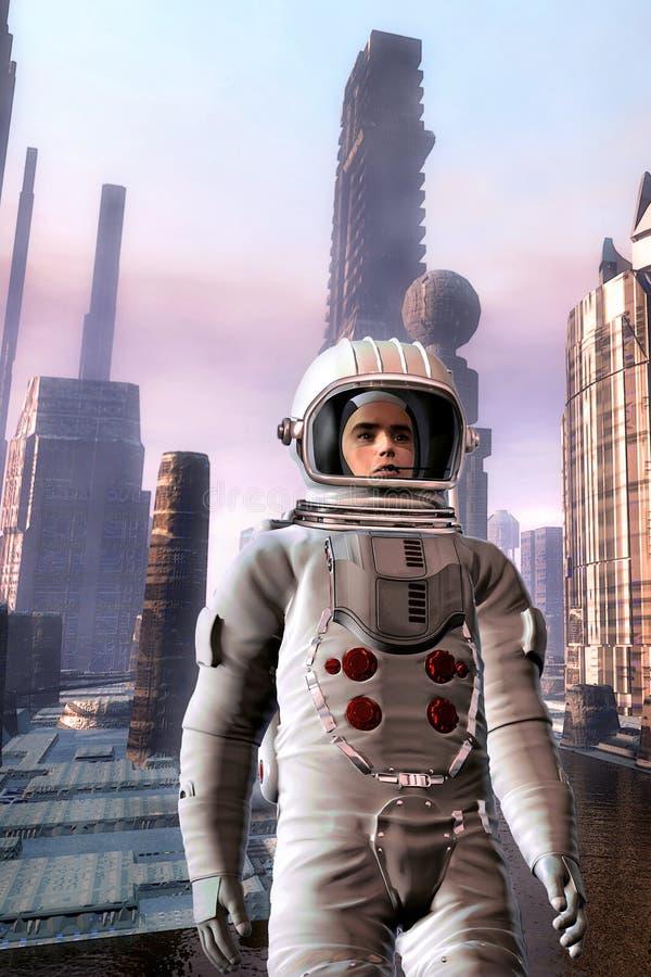 Astronauta do explorador na cidade estrangeira ilustração stock