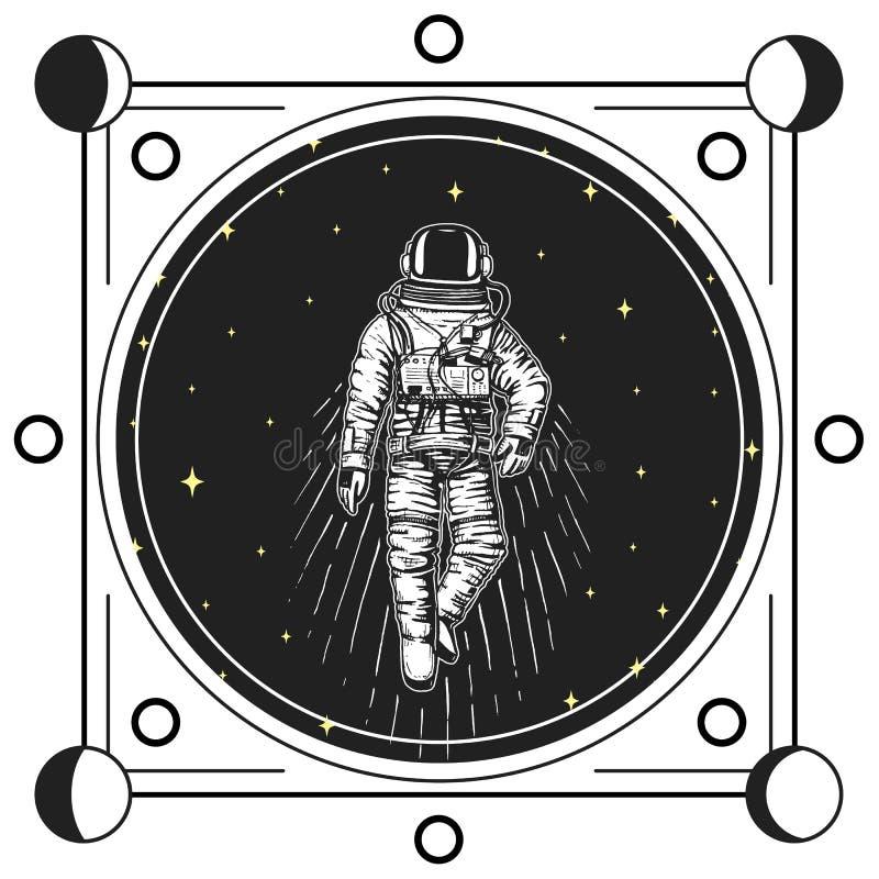 astronauta do astronauta A lua põe em fase planetas no sistema solar espaço astronômico da galáxia o cosmonauta explora a aventur ilustração royalty free
