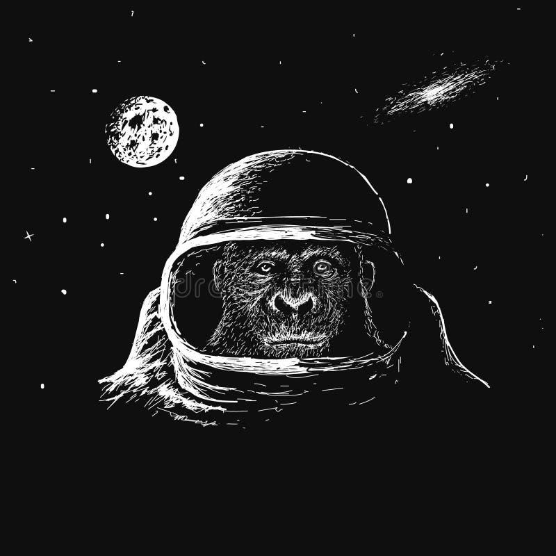 Astronauta do macaco no espaço ilustração stock