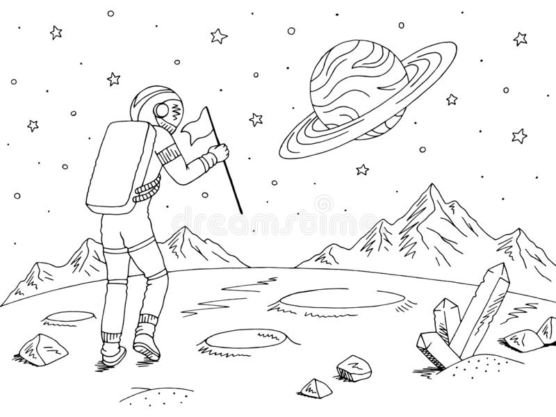 Astronauta do astronauta que anda com bandeira Vetor branco preto gráfico da ilustração do esboço da paisagem do espaço do planet ilustração royalty free