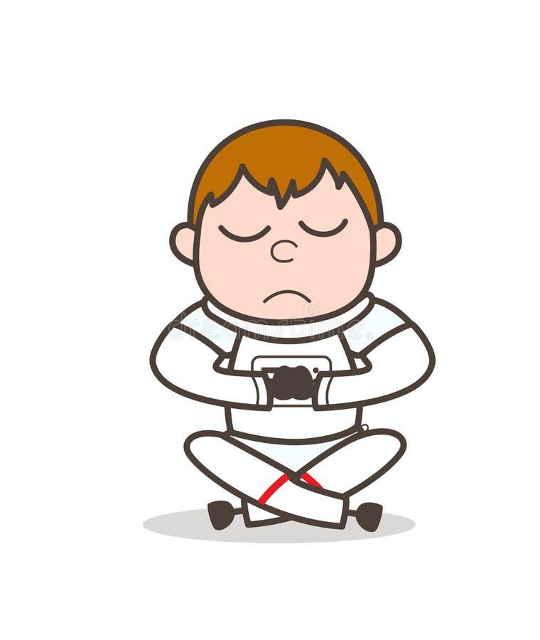 Astronauta Doing Concentration de la historieta en el ejemplo del vector de la yoga stock de ilustración