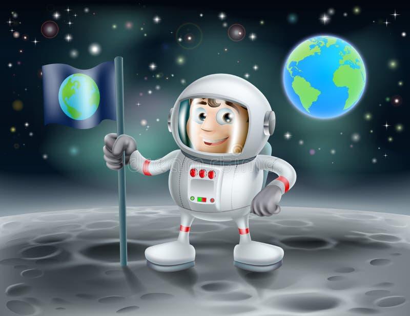 Astronauta dos desenhos animados na lua ilustração do vetor