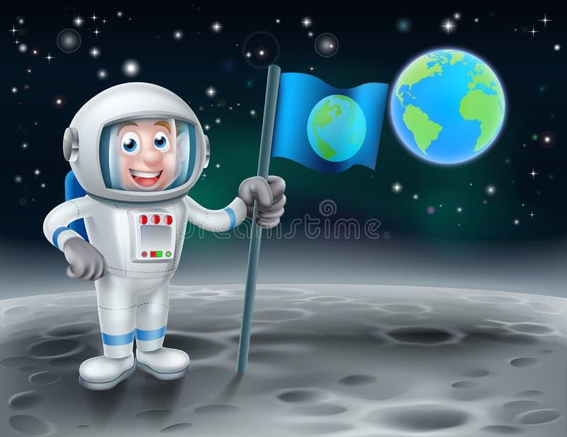 Astronauta dos desenhos animados na lua ilustração stock