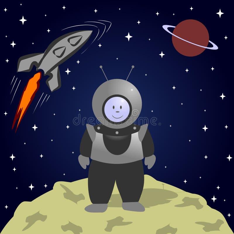 Astronauta dos desenhos animados na lua Paisagem do espaço ilustração royalty free