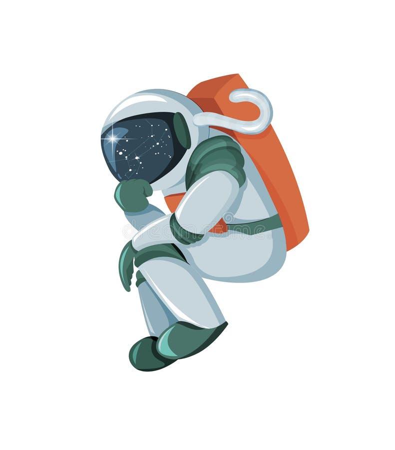 Astronauta dos desenhos animados que pensa ou que procura a solução isolada no fundo branco ilustração do vetor