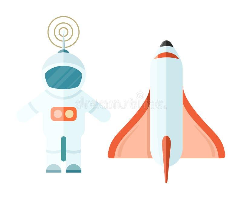 Astronauta e spazio Rocket su bianco illustrazione vettoriale