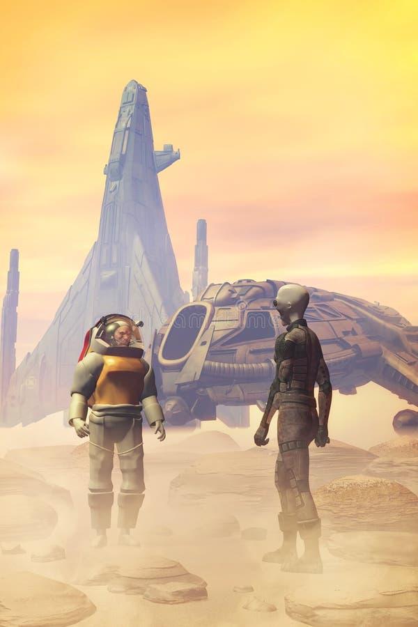 Astronauta e straniero su un pianeta del deserto illustrazione vettoriale