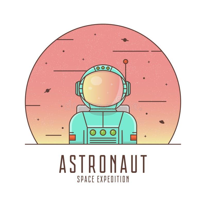 Astronauta em um terno de espaço Projeto do logotipo do astronauta Ilustração do conceito do espaço ilustração do vetor
