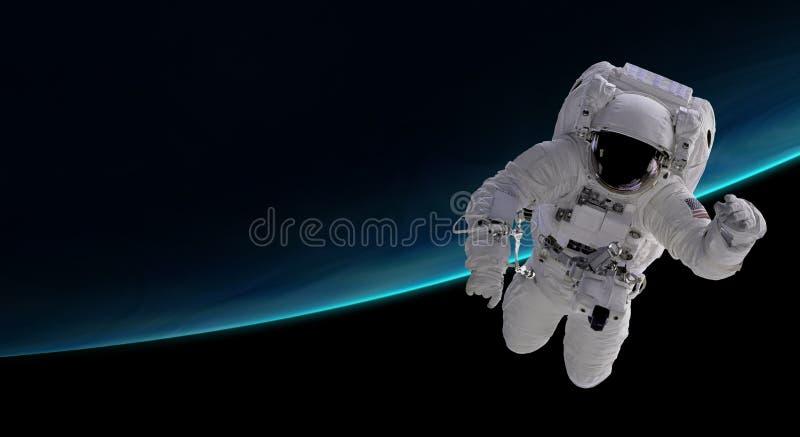 Astronauta en órbita terrestre stock de ilustración